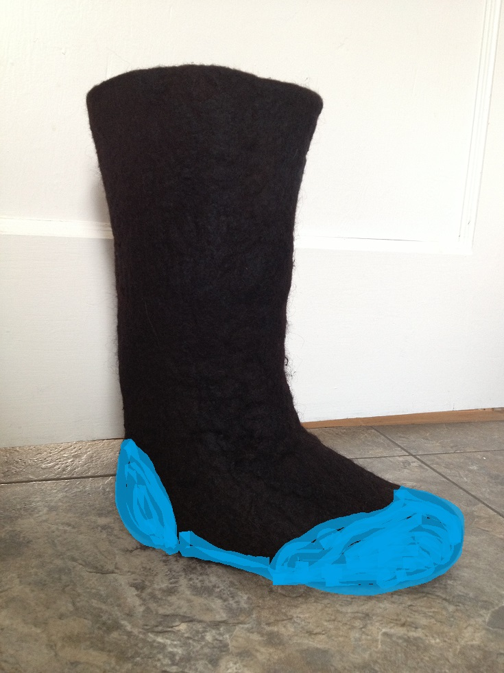 Black boots_blue Mary Jane bottoms