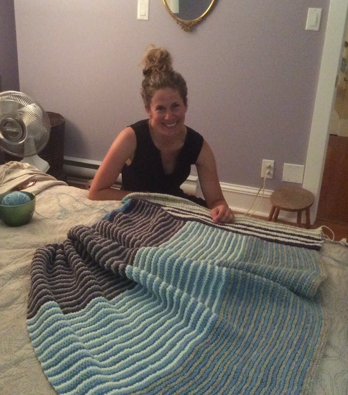 photo of me with my summer knitting project