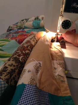 Sewing some 'walls'.