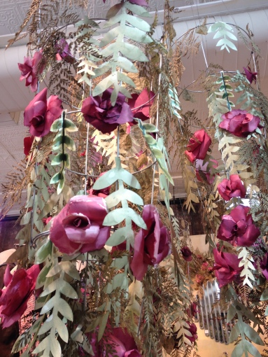 Tomato cages and watercolour paper flowers and vines at Anthropologie