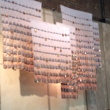A 'Quilt'? 'Teabags'? Modern art? Display behind the cash at Anthropologie