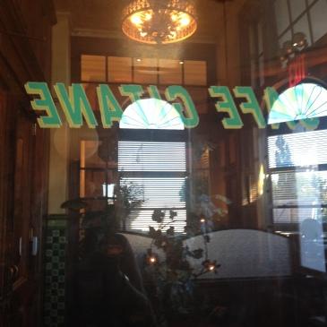 A reflection of the Cafe Gatane