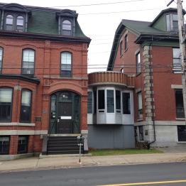 Fantastic modern architectural design solution to join two victorian buildings in downtown Halifax